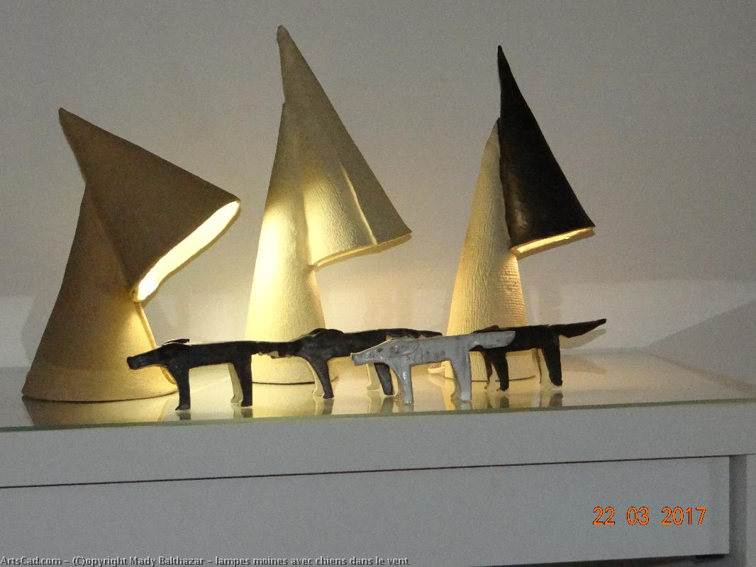 Artwork >> Mady Balthazar >> monks lamps on with  dogs  place in  out the  wind