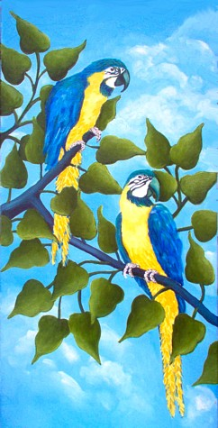 Artwork >> Gemma Holland >> blue&gold macaws '02