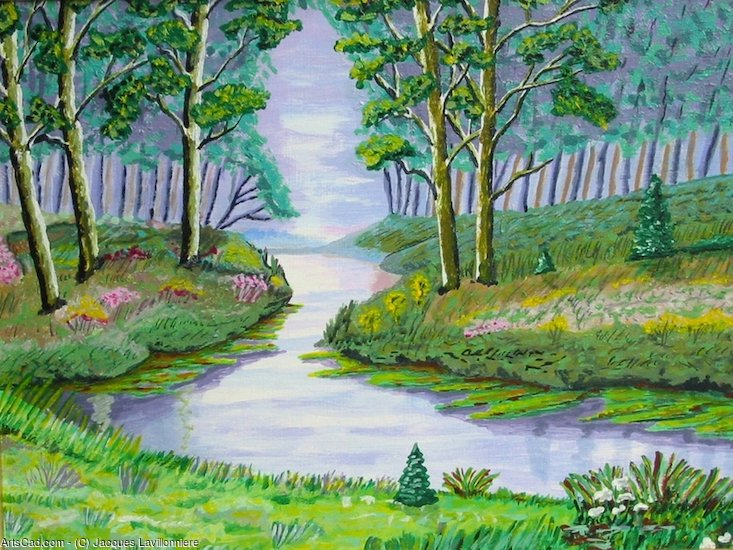 Artwork >> Jacques Lavillonniere >> River in the forest