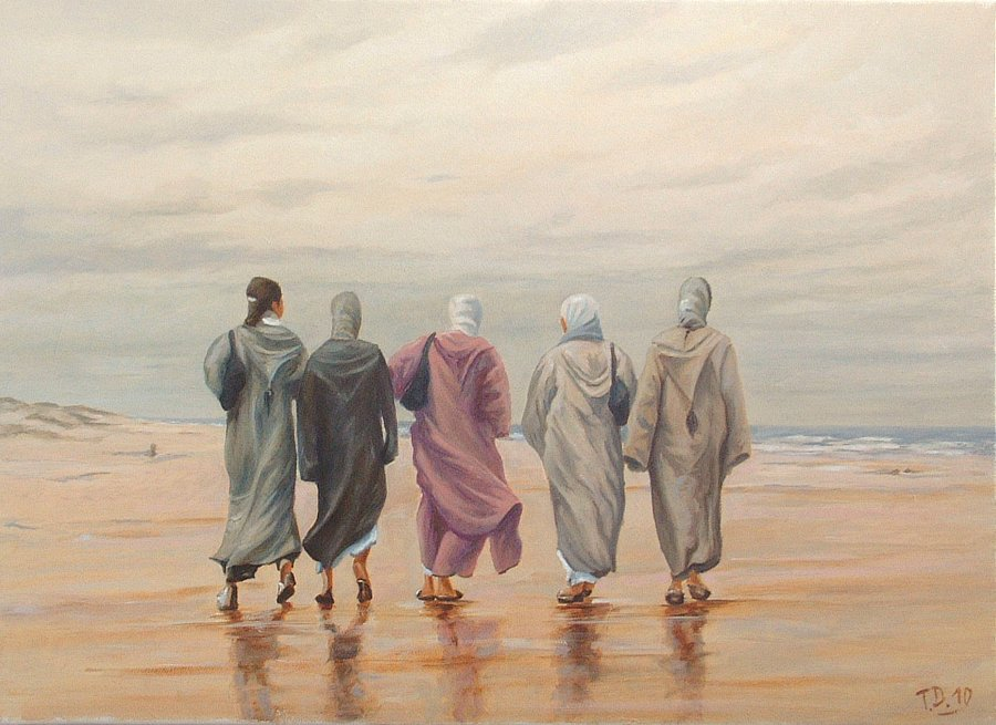 Artwork >> Till Dehrmann >> wives moroccan  up in  walking  at  there  beach