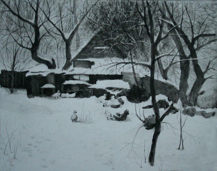 Artwork >> Vadim Goryanskiy Artist Painter Ukraine >> Winter yard