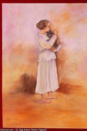 Artwork >> Gigi Artiste Peintre Figuratif >> there little girl  up and  its  cat