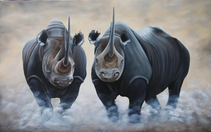 Artwork >> Chantal Rousselet >> Rhinos