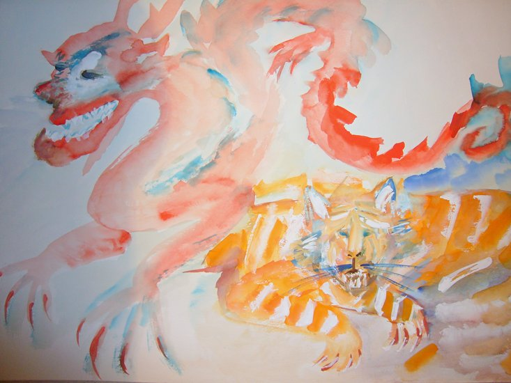 Artwork >> Irane Perko >> of dragon up and  Tigris  n°2