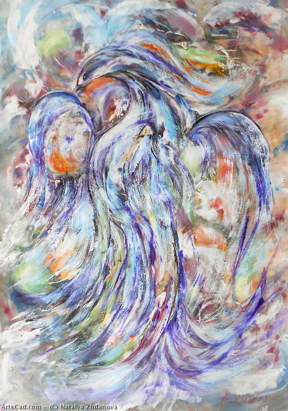Artwork >> Natalya Zhdanova >> blue bird wedding original abstract acrylic painting on paper
