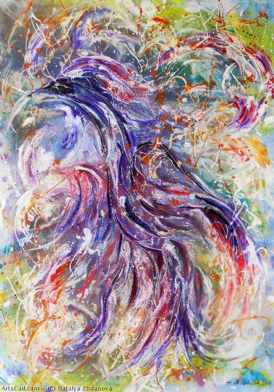 Artwork >> Natalya Zhdanova >> bird happiness original abstract acrylic painting on paper