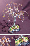 Sal Villano Wire Tree Sculpture - Beaded Willow - Mini Wire Tree Sculpture