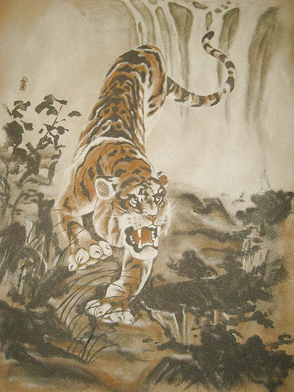 Artwork >> Sandpainting >> Sand Painting-Tiger Godownhill