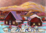 Carole Spandau - POND HOCKEY COZY WINTER SCENE