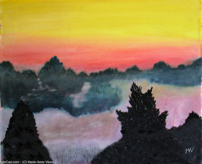 Artwork >> Marie-Anne Viseur >> Sunset in the Fens.