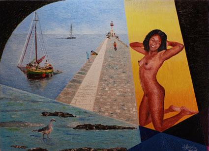 Artwork >> Christian Bonnefoy >> naked , seagull and lighthouse from boyardville