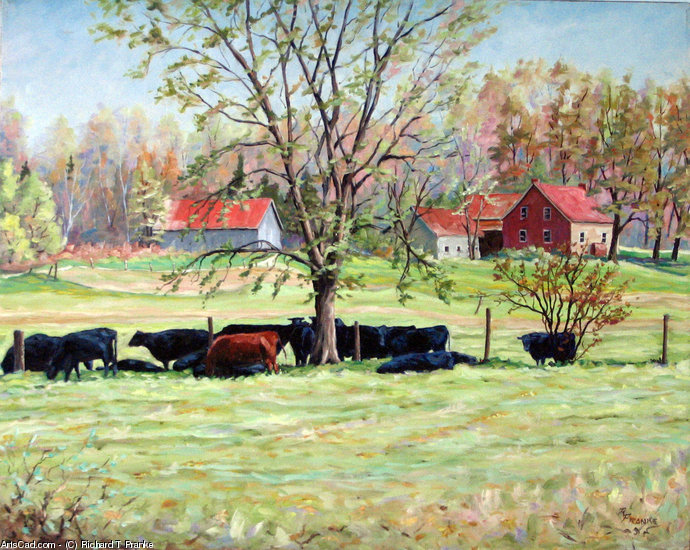 Artwork >> Richard T Pranke >> Cows grazing in one field_Vaches scavenging through champs_sold
