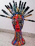 Mirit Ben-Nun - Styrofoam golden head mannequin markers , color pencil , gold tacks acrylic painted