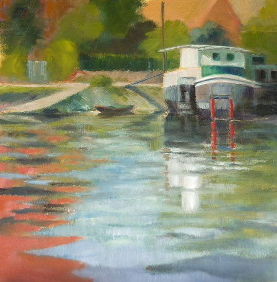 Artwork >> Danièle Cavillon-Leclerc >> Houseboats at holy mammes