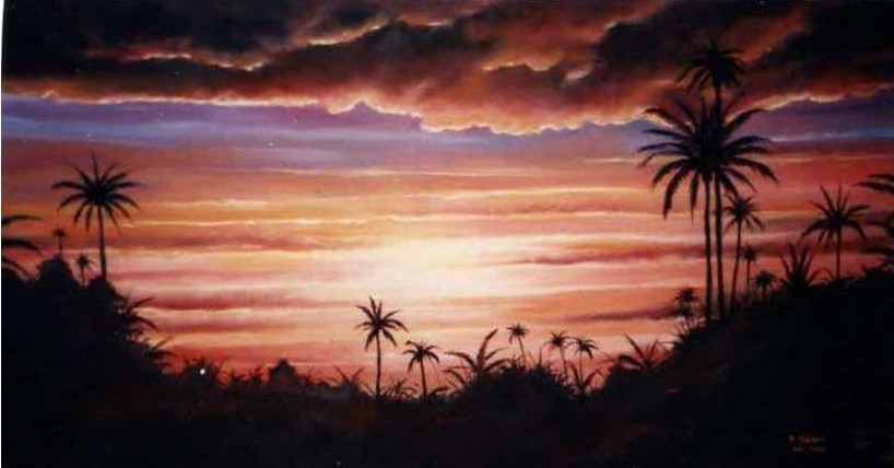 Artwork >> Mes Peintures Orientalistes >> sunfall at the  south  Algerian