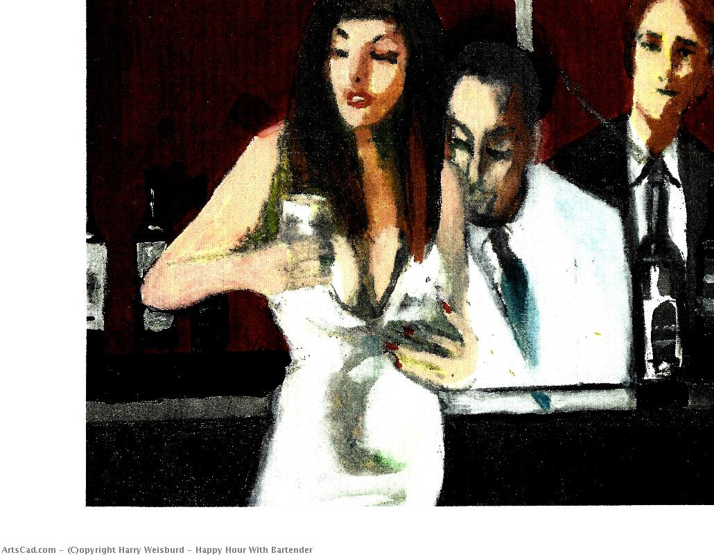 Artwork >> Harry Weisburd >> Happy Hour With Bartender