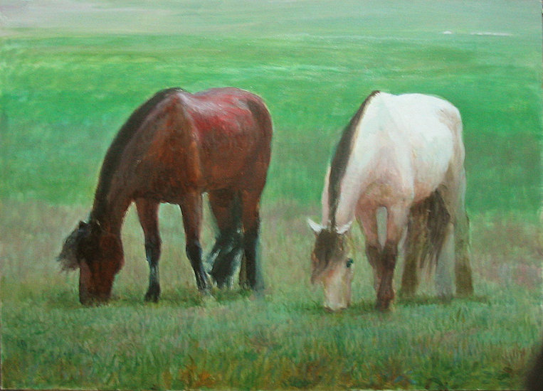 Artwork >> Chen Jiqun >> Horses on Erdeng Wula