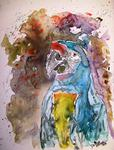 Derek Mccrea - Macaw parrot bird watercolor on yupo paper painting