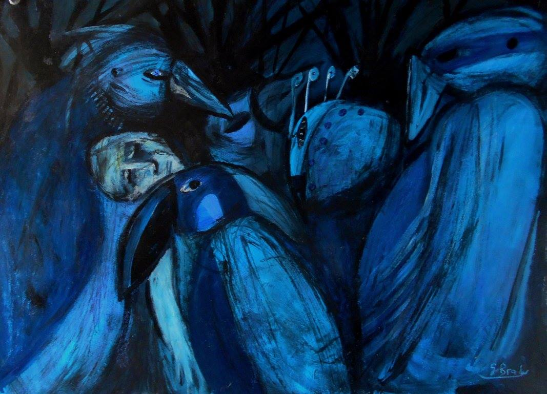 Artwork >> Glenn Brady >> 'among the blue birds'..90cmx70cm acrylics and pastels on pasteboard
