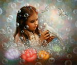 Yoo Choong Yeul Art - soap bubble girl