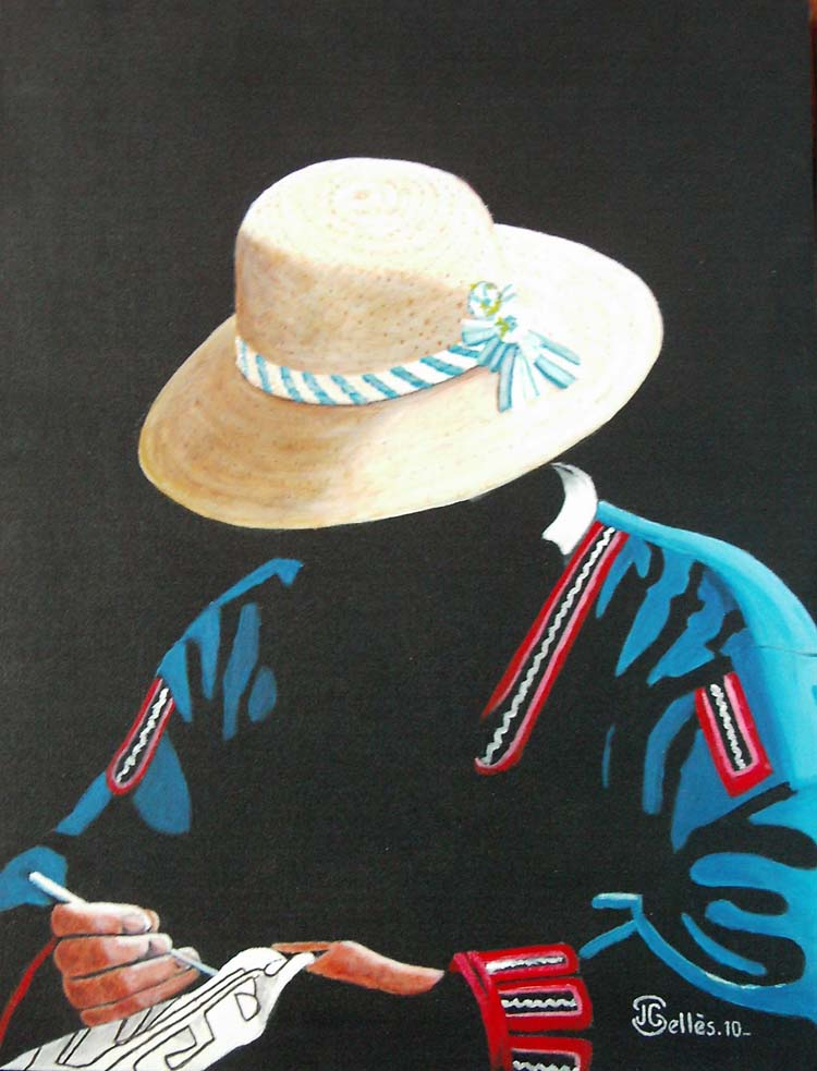 Artwork >> Jean-Claude Selles Brotons >> The embroiderer Quechua . Peru