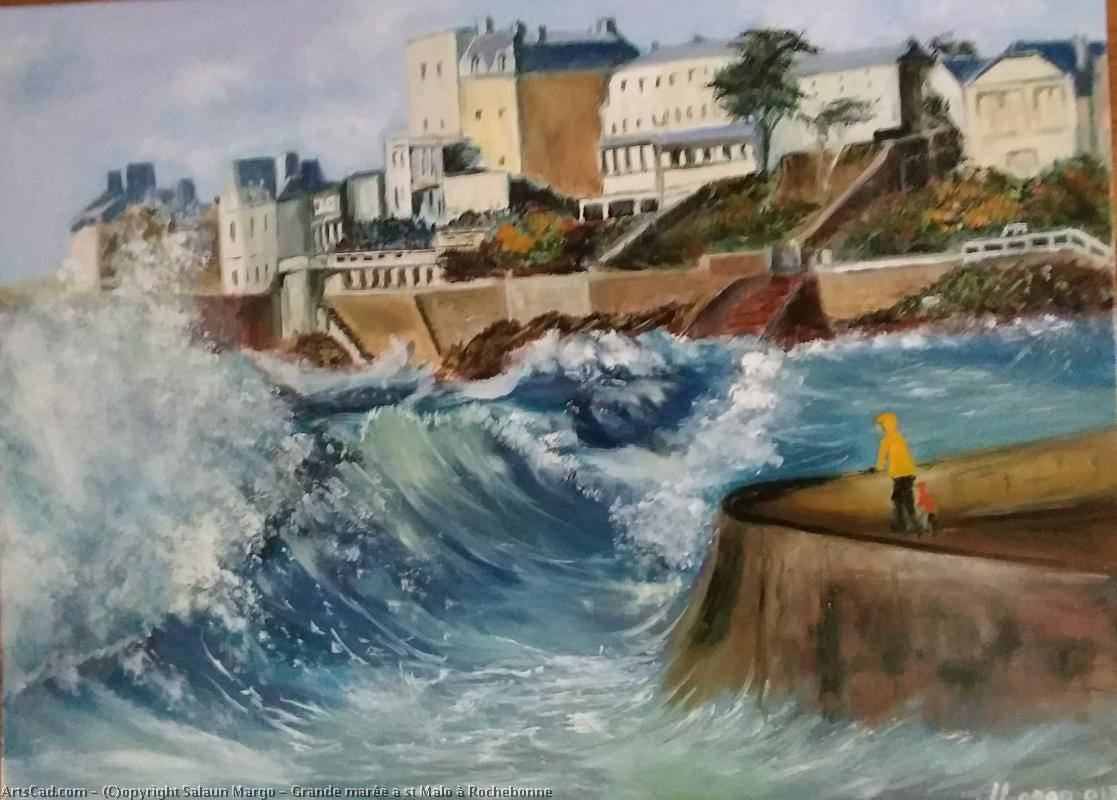 Art by Salaun Margo : Salaun Margo - Great tide in st Malo at Rochebonne
