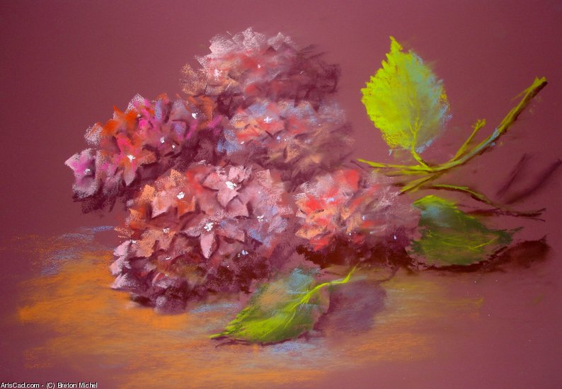 Artwork >> Breton Michel >> Hydrangeas up in  ARMFUL