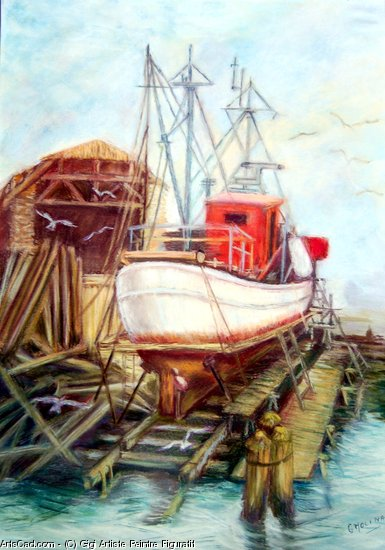 Artwork >> Gigi Artiste Peintre Figuratif >> boat in cig fixes