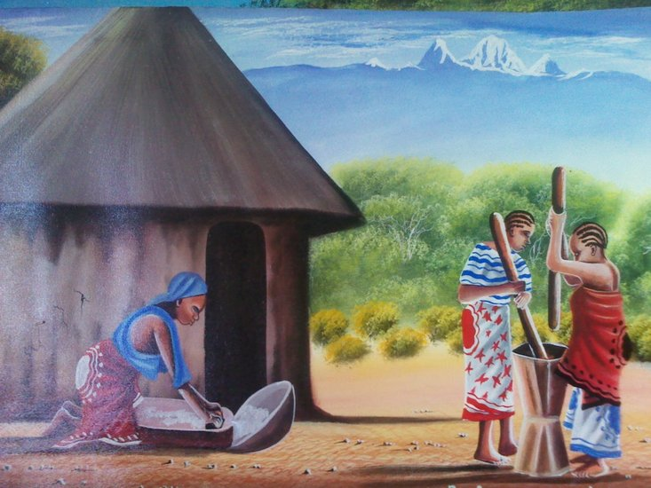 Artwork >> Platinum Kenya Art Gallery >> African village