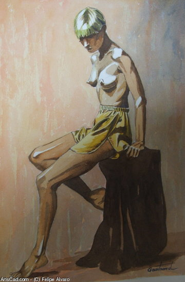 Artwork >> Felipe Alvaro >> NAKED in shorts yellow
