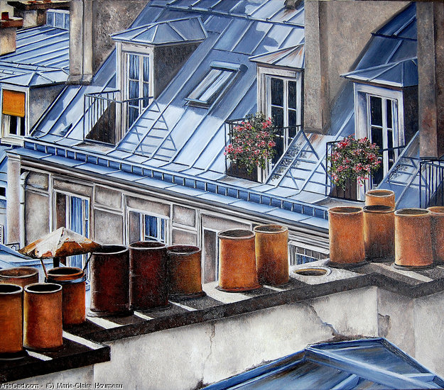 Artwork >> Marie-Claire Houmeau >> rooftops of the Paris  7