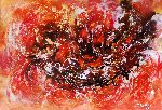 Natalya Zhdanova - colorful painting on paper danse of fire . large original abstract paper wall art .