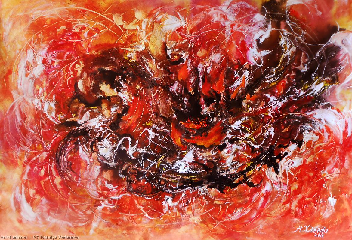 Artwork >> Natalya Zhdanova >> colorful painting on paper danse of fire . large original abstract paper wall art .
