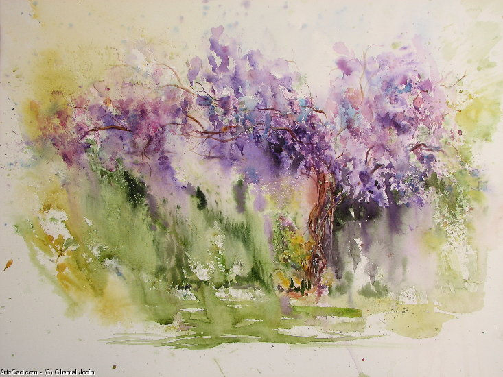 Artwork >> Chantal Jodin >> wisteria at the  bottom  of the  garden