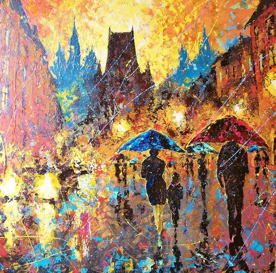 Artwork >> Vladimir Domnicev >> Prague youve colors and the rain music