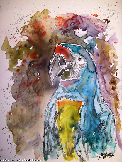 Artwork >> Derek Mccrea >> Macaw parrot bird watercolor on yupo paper painting