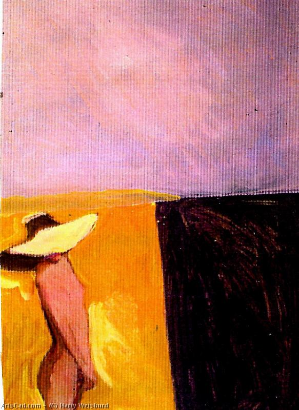 Artwork >> Harry Weisburd >> Woman White Hat At the Beach