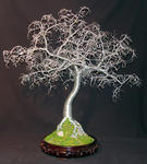 Sal Villano Wire Tree Sculpture - Hammered Leaves Bonsai - wire tree sculpture