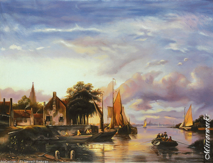 Artwork >> Somnath Mookerjee >> A Dutch River Landscape