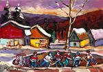 Carole Spandau - POND HOCKEY WITH BIRCH TREE AND MOUNTAINS