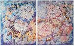 Natalya Zhdanova - multi panel floral abstract art fantasy lilac waltz of flowers , diptych painting on canvas