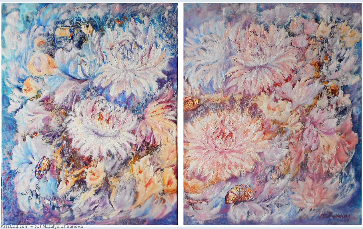Artwork >> Natalya Zhdanova >> multi panel floral abstract art fantasy lilac waltz of flowers , diptych painting on canvas