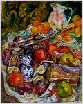 Томарев Николай - - still life with a reproduction of cezanne . -