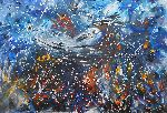 Natalya Zhdanova - original painting miracle fish - a whale in abstract style