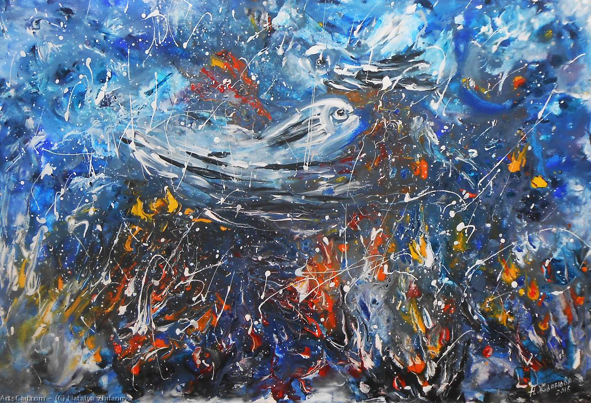 Artwork >> Natalya Zhdanova >> original painting miracle fish - a whale in abstract style