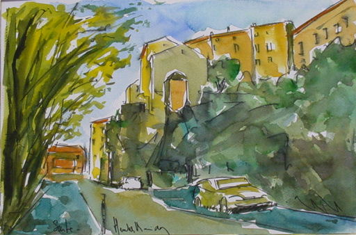 Artwork >> Heritier-Marrida >> village corsica from south SARTE