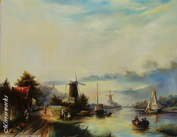 Artwork >> Somnath Mookerjee >> Boats On A Dutch Canal