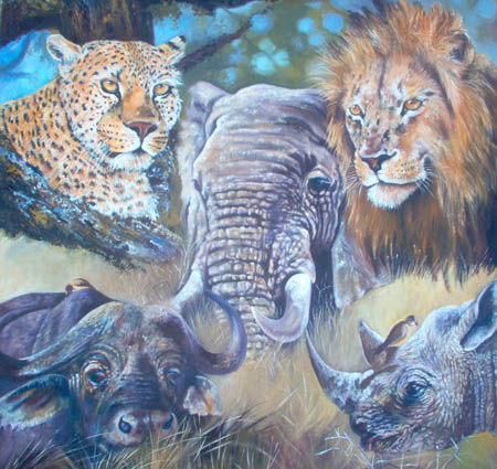 Artwork >> Berthold Moyo >> africa's big five