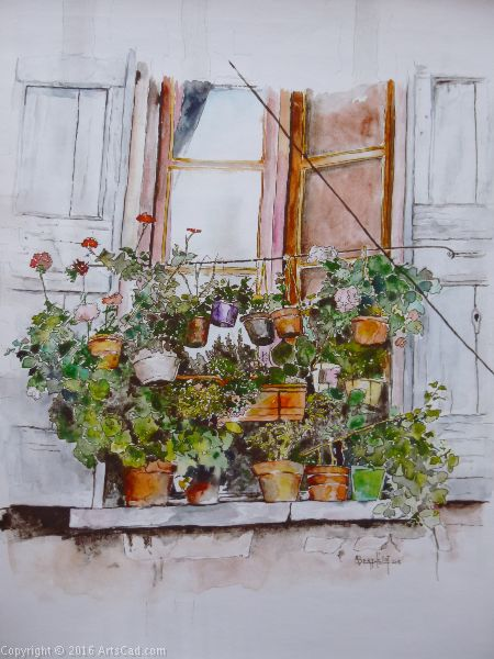Artwork >> Alain Berthelot >> Flowers balcony at Rescued ( Gard )