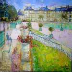 Aimé Venel - Young girl in pink in the garden palace luxembourg